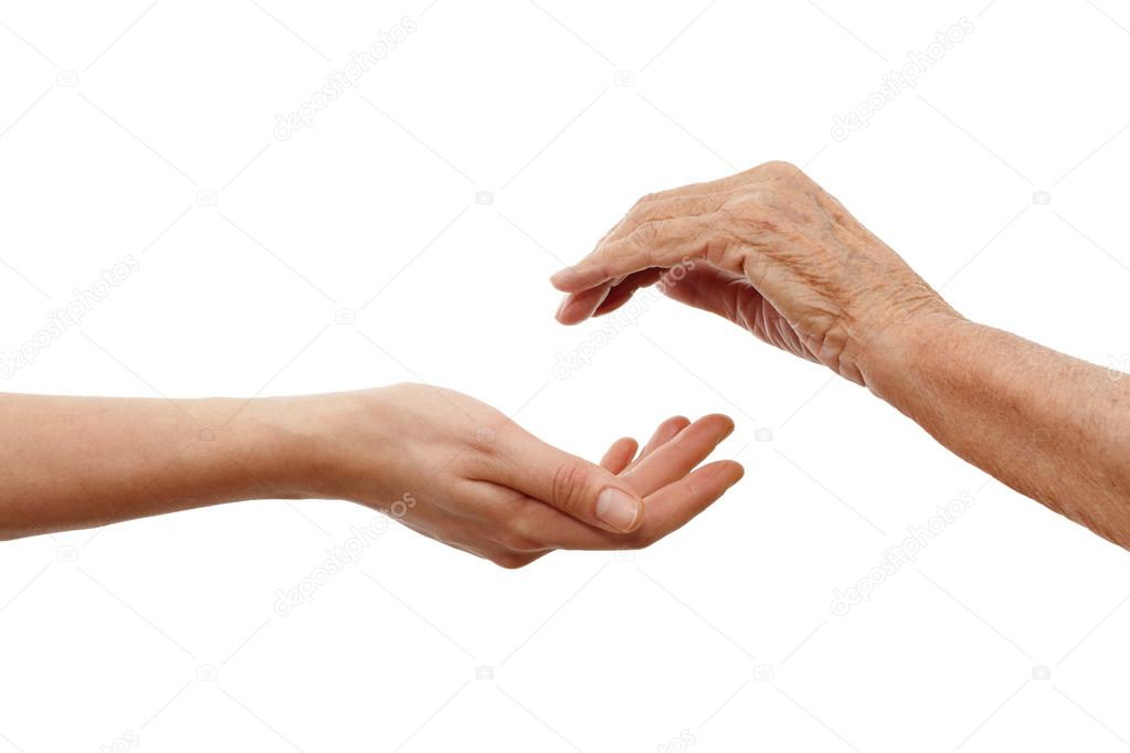 Young hand holding and elder one