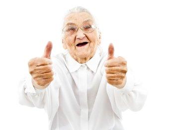 garndma showing thumbs up