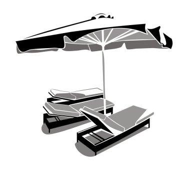 Sunbeds and umbrella