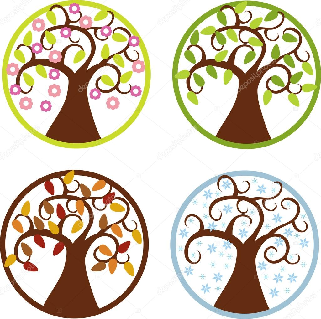 color vector four seasons symbols