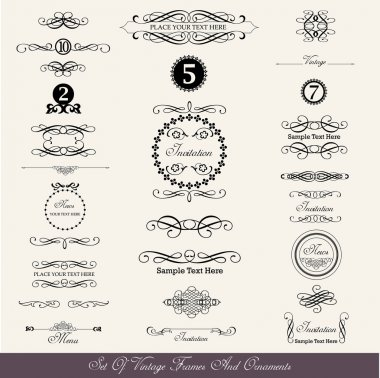 Vector design, set of calligraphic labels, borders and text dividers in vintage style stock vector