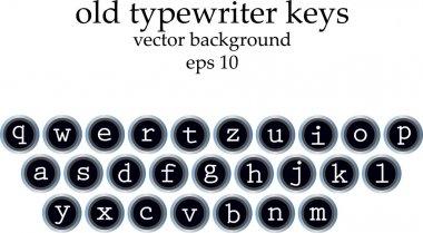 Set of old typewriter keys isolated on white background