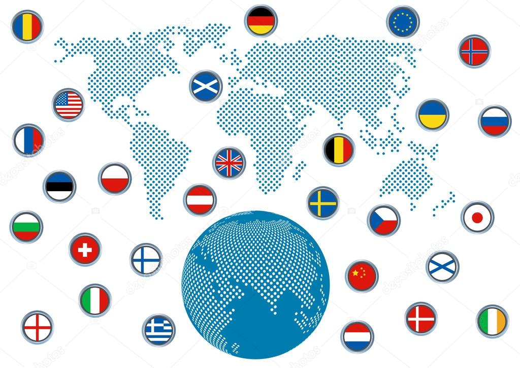 World map globe icon and some well known flags vector de stock world map globe icon and some well known flags vector de stock gumiabroncs Image collections