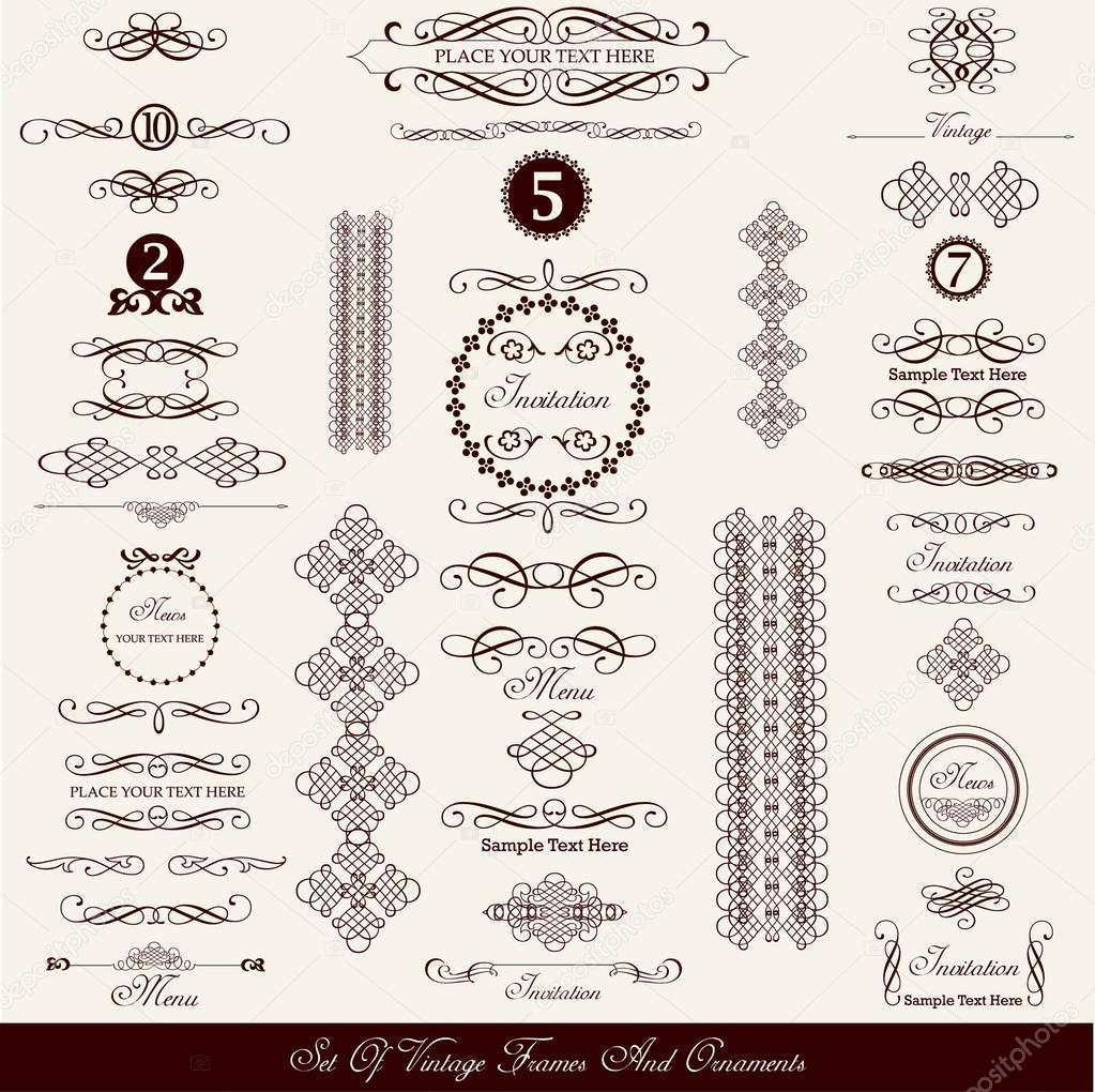 Set of decorative vintage elements