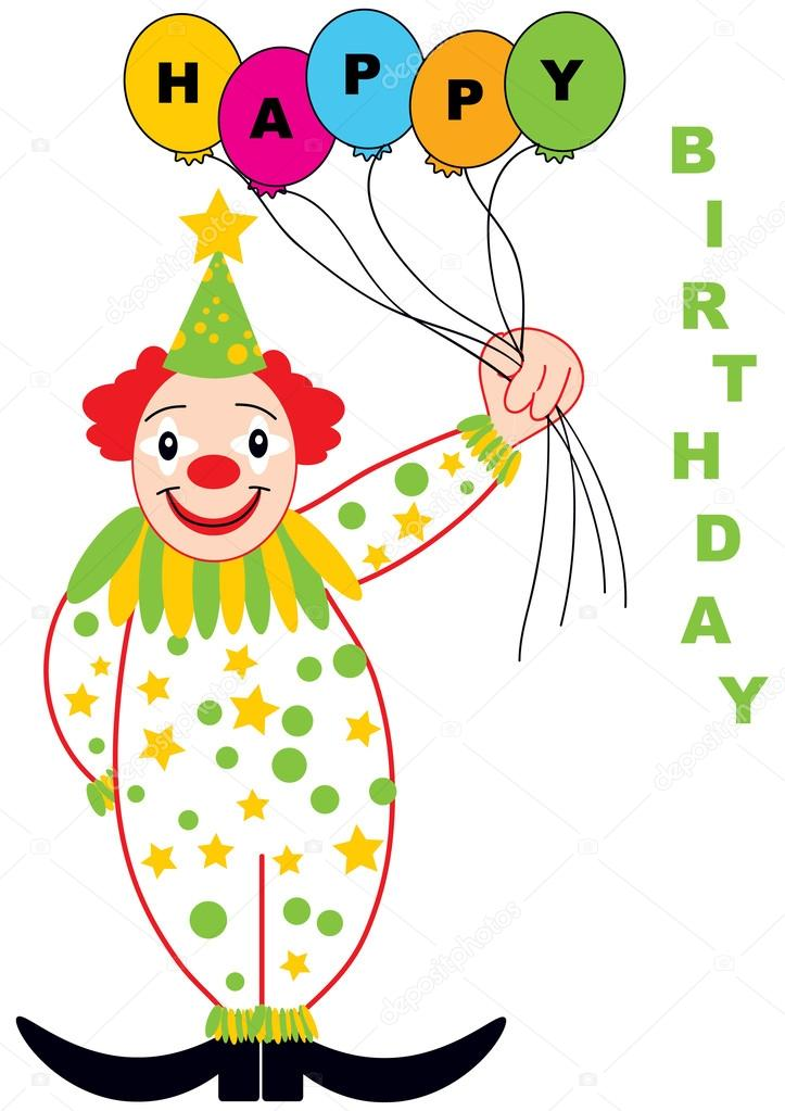 Happy birthday card with funny clown Vector pizla09 – Clown Birthday Cards