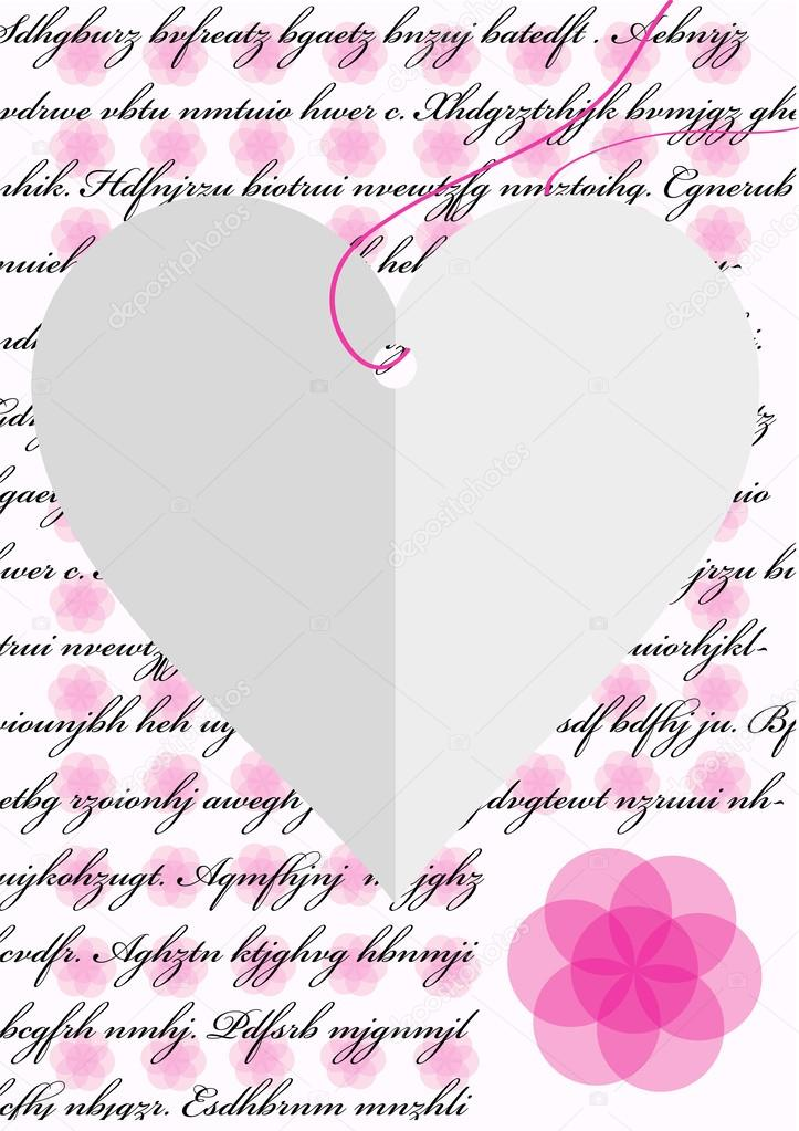 Romantic Love Letter With Paper Heart And Pink Flowers — Stock