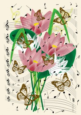 Vintage music notes sheet with flying butterflies and lilly flowers