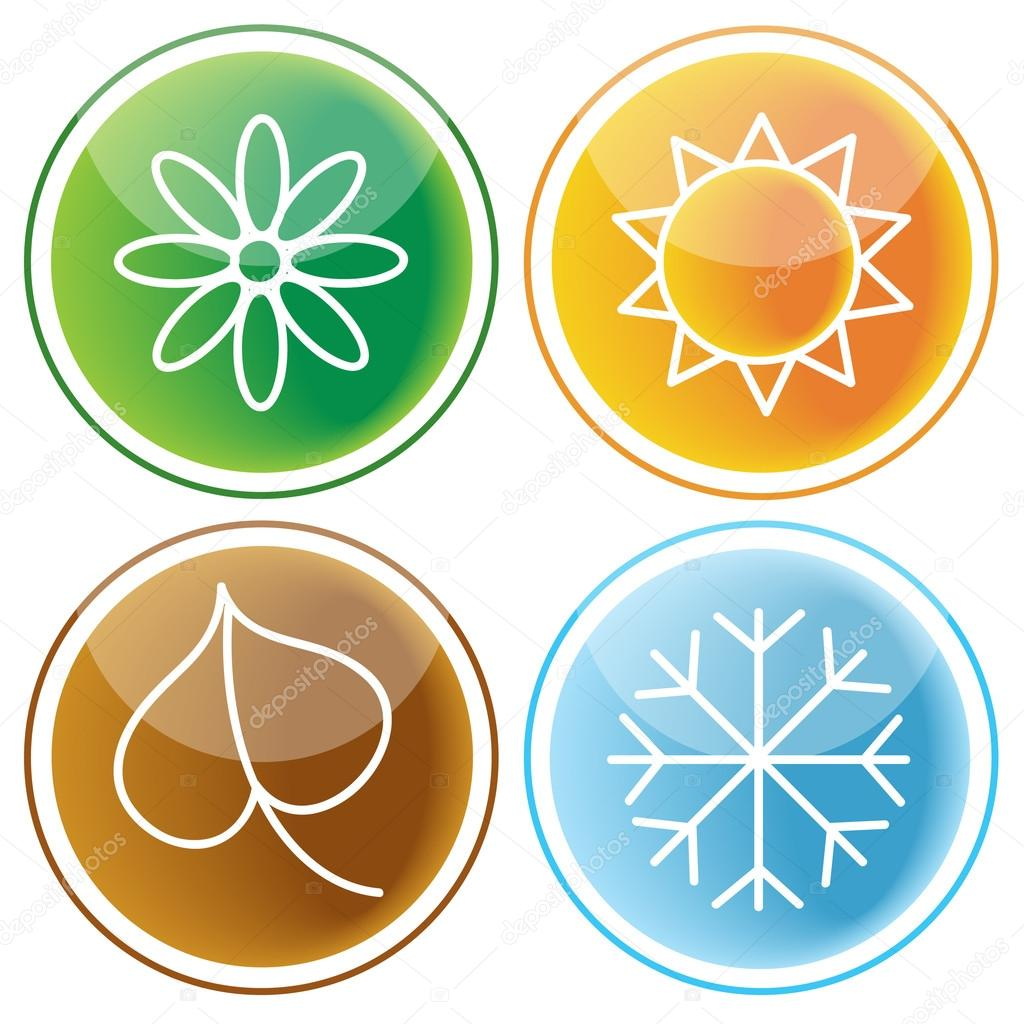 Set of web buttons with seasons icons