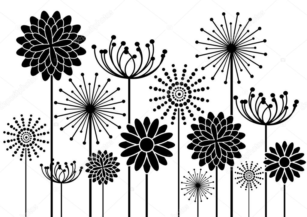 Flowers silhouettes vector background — Stock Vector