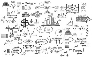Doodle finance business elements hand-drawn
