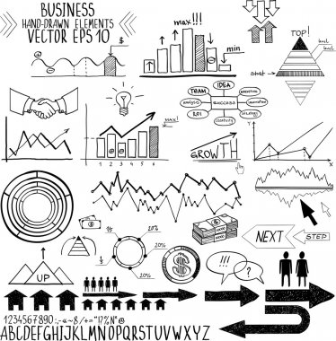 Set of hand drawn business finance elements vector illustration. Concept - bank, stats, economy, money