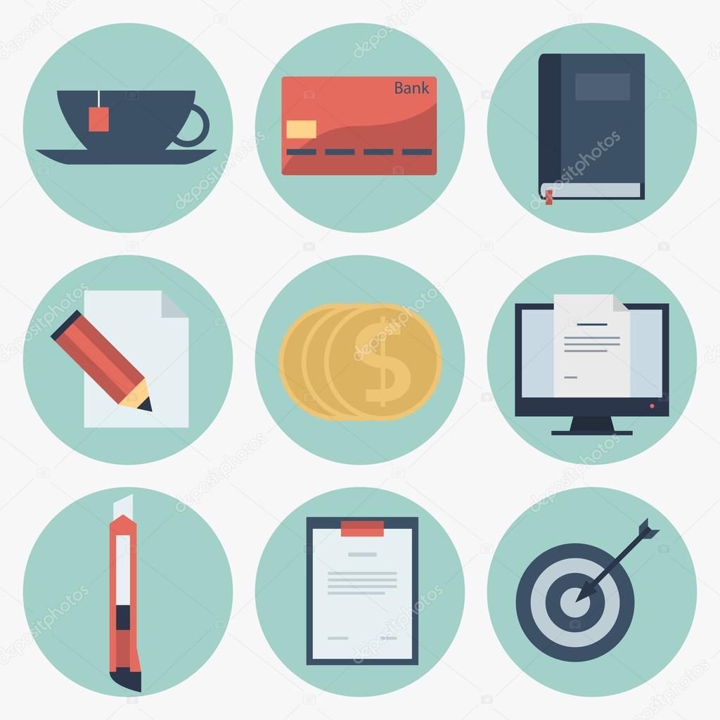 Iconos planos modernos de recolecci n de vectores objetos for Imagenes de articulos de oficina