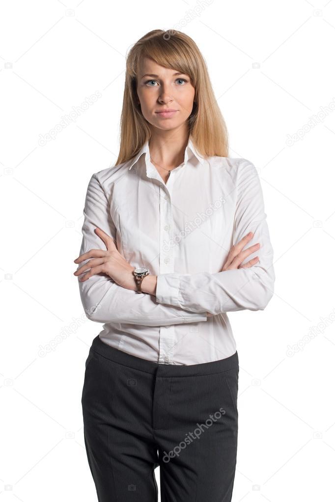 8ec790b2aa021e Ritratto di donna di affari giovane isolata su sfondo bianco — Foto di  undrey