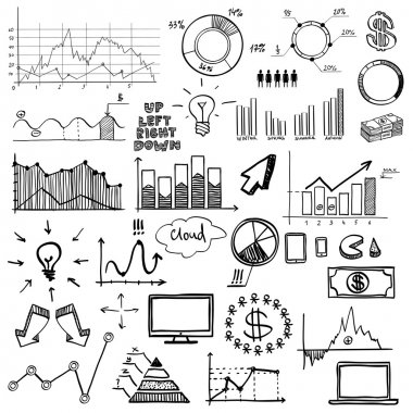 Hand draw doodle charts web charts business finanse elements on chalk board. stock vector