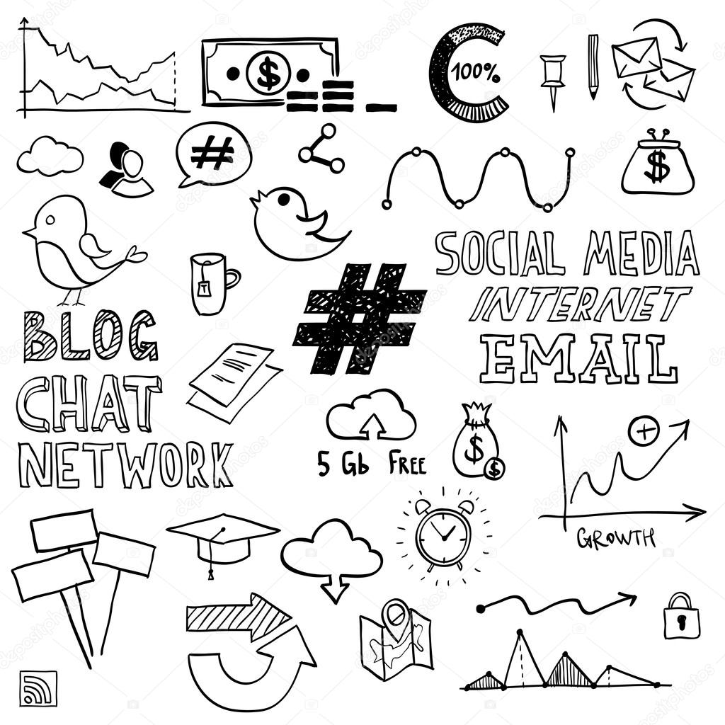Hand draw social media sign and symbol doodles elements. Concept tweet, hashtag, internet communication