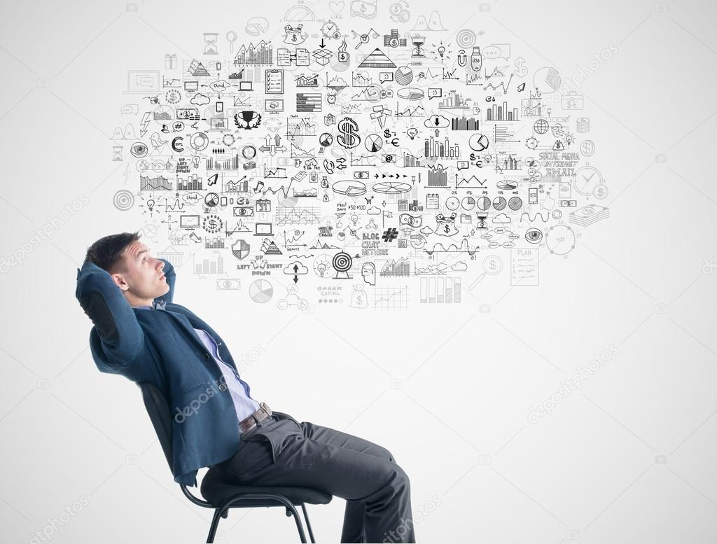 Young Businessman Sitting Thinking Dreaming About Success Profit Development Under Thought Bubble Cloud Business Finance Elements