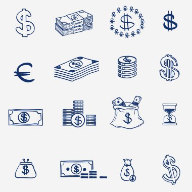 Money icons set doodle sketch hand draw. Finanse, investment, business, credit bank elements. clip art vector