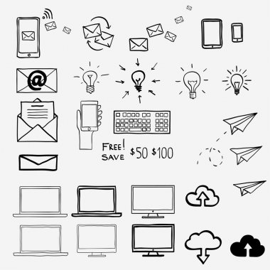 Hand draw doodle icons. Concept internet, work, office, shopping