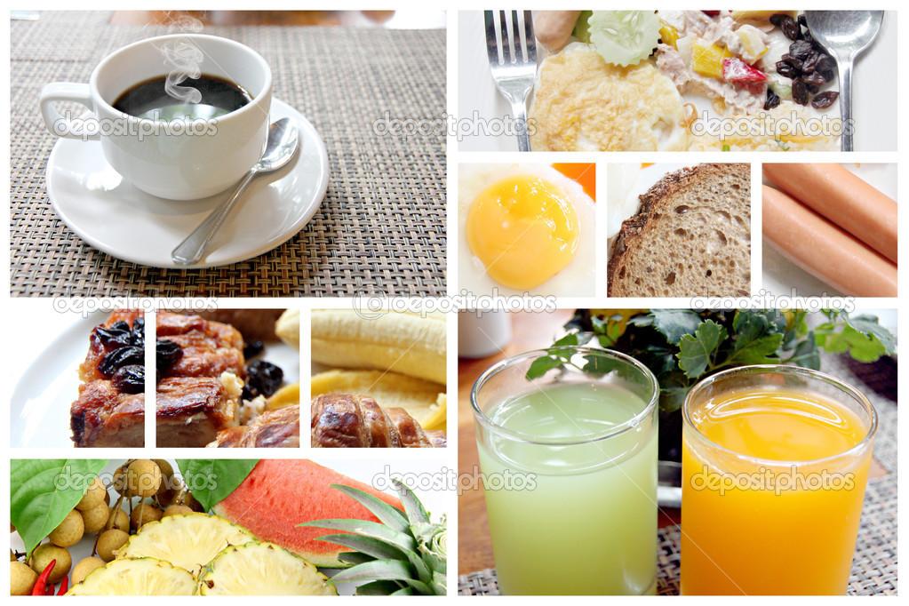 Mischen Sie Bild, zum Frühstück im Rahmen — Stockfoto ...