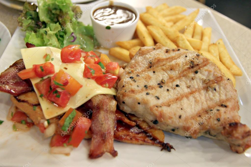 Pork Steak with French fries.