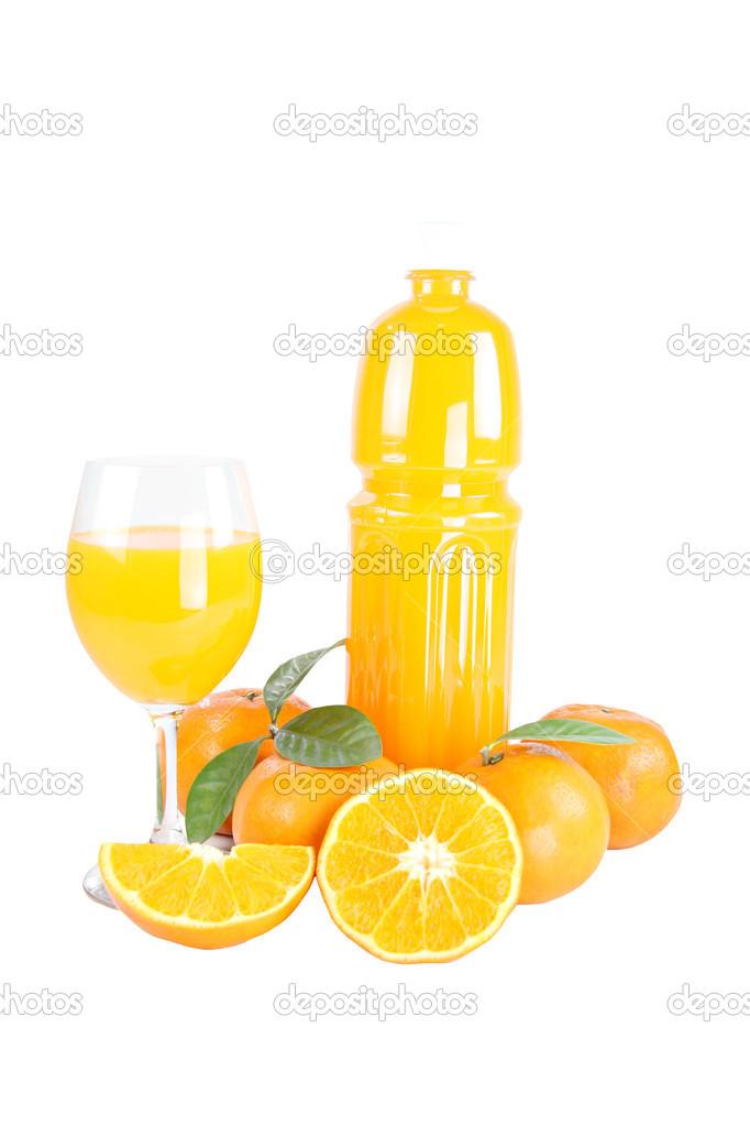 Mandarin Orange and Bottle of juice.