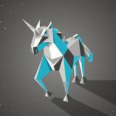 Tří dimenzionální magie origami jednorožce od přeložený papír