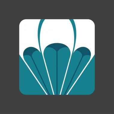 Flat icon with a open parachute