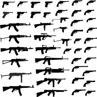 Collection Of Gun. Detailed Vector Illustration. Isolated On White. stock vector