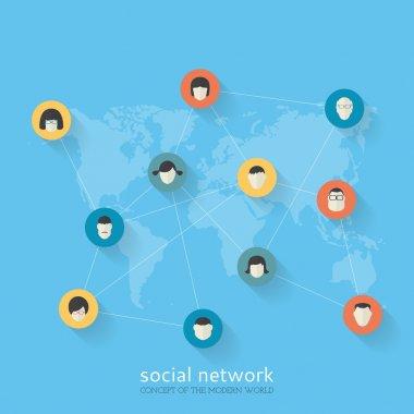 Flat design concept of social network