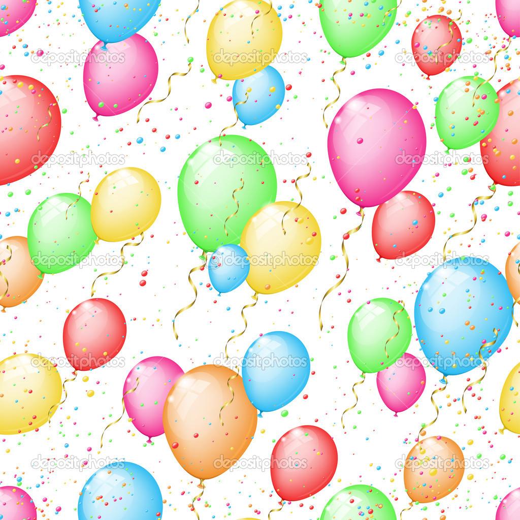 fondo transparente soleado con globos de colores y confeti — Fotos ...