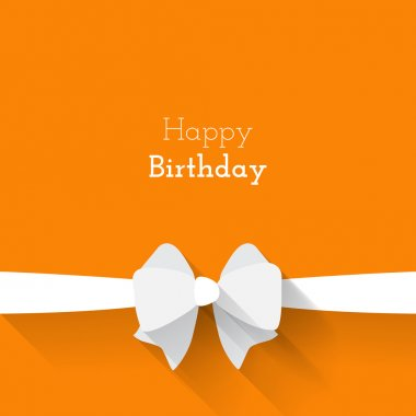 Simple card for birthday with a white paper bow on orange background