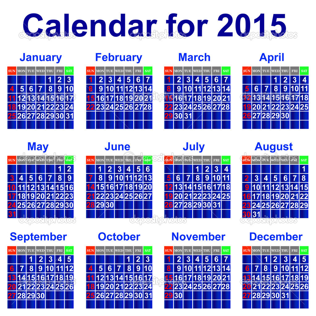 Calendar for 2015 year. — Stock Vector © liluly332201 #30774669