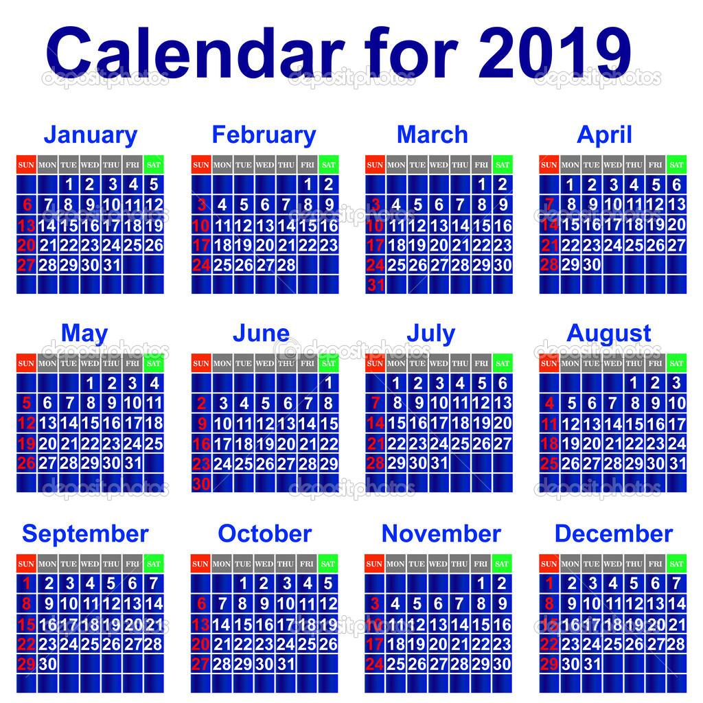 2019 Yılı Takvimi Stok Vektör Liluly332201 30774673