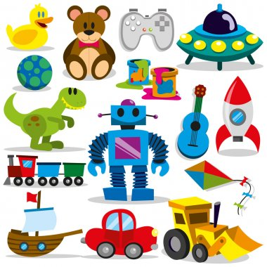 A set of differents cute vector toys stock vector