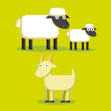 Set Of Cartoon Sheep, Lamp And Goat
