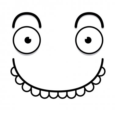 Vector Cute Cartoon White Happy Face