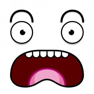 A Vector Cute Cartoon White Screaming Face
