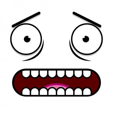 A Vector Cute Cartoon White Scared Face