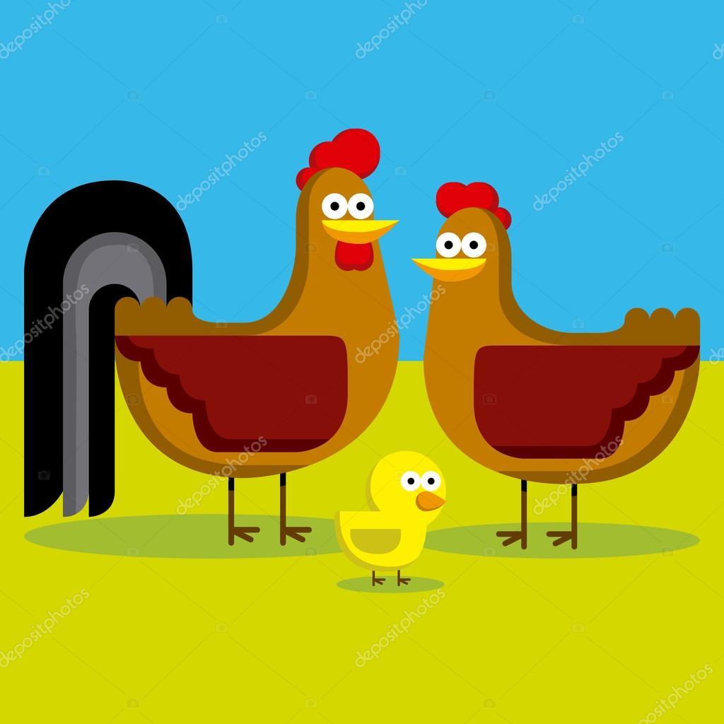 Gallo, gallina y pollo con fondo de color de dibujos animados ...