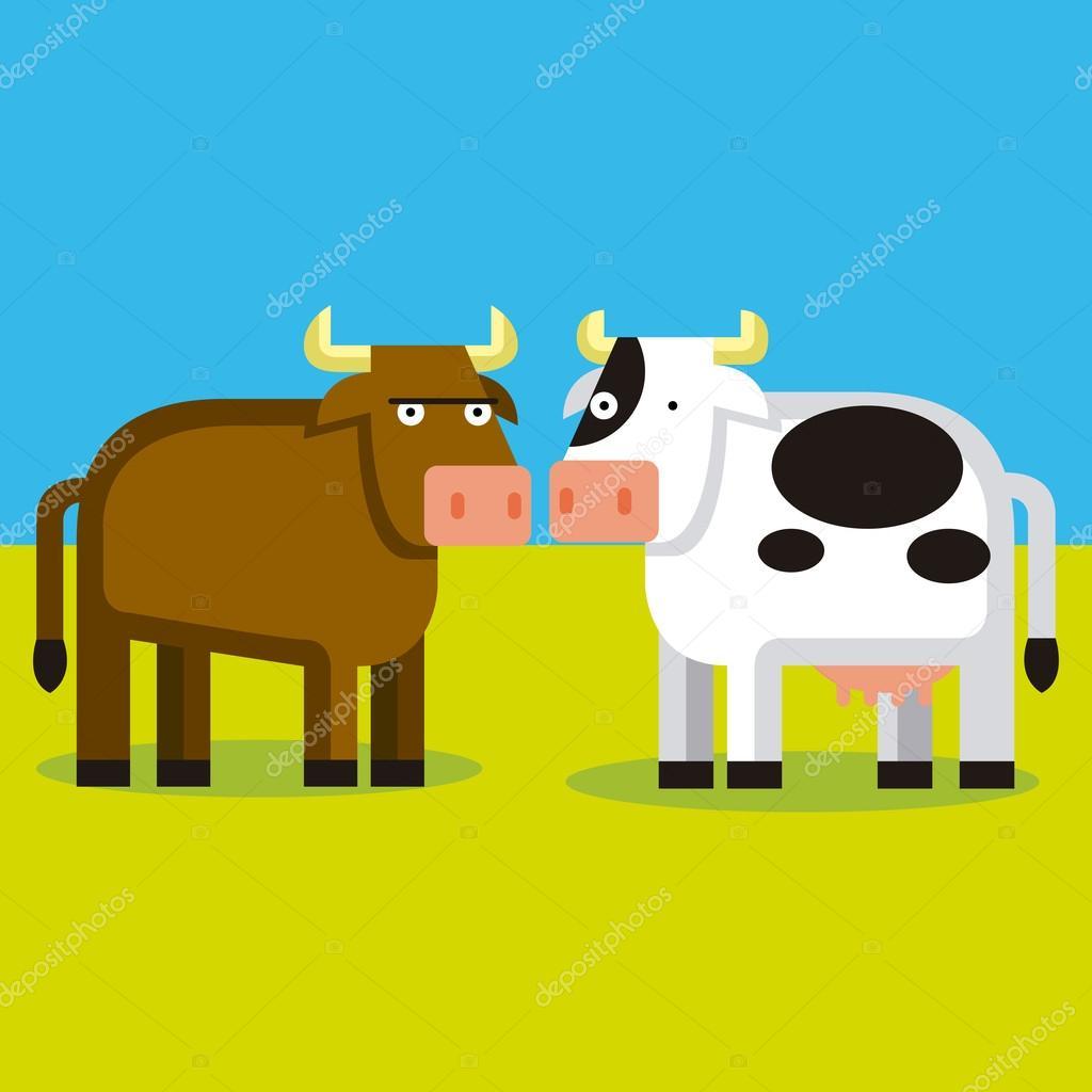 Couple de dessin animé d un taureau et une vache — image