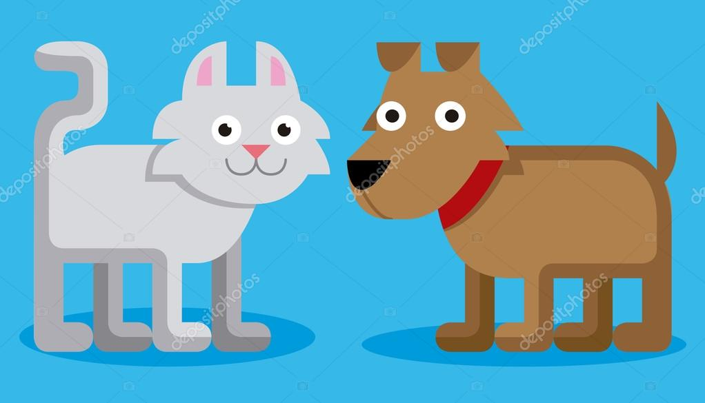 Roztomila Kreslena Kocka A Pes Na Modrem Pozadi Stock Vektor