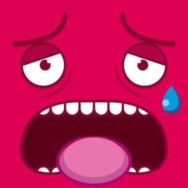 A Vector Cute Cartoon Pink Tired Face