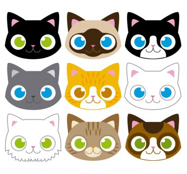 Set Of Different Adorable Cartoon Cats Faces