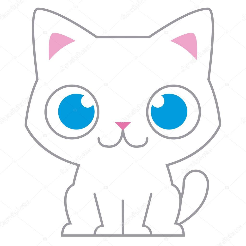 Dessin anim adorable petit chat illustration isol e image vectorielle aratehortua 44084777 - Petit chat dessin ...