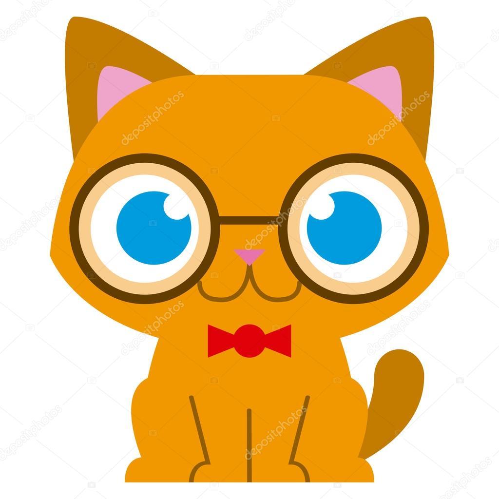 apparence élégante acheter de nouveaux mieux Chat adorable dessin animé avec verre et noeud papillon ...