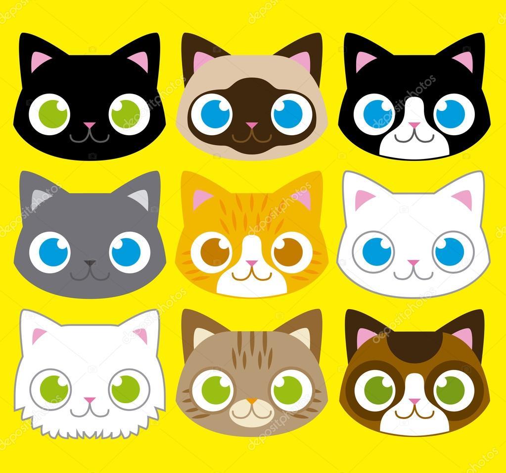 Dibujos Caras De Gatos Conjunto De Diferentes Dibujos Animados