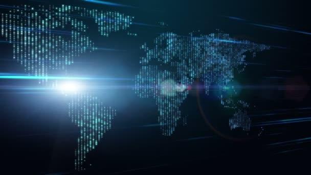futuristické technologie video animace s pohyblivými mapa světa a světla, smyčka hd 1080p