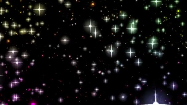 krásné vánoční video animace s hvězdami a světla, smyčka hd 1080p
