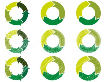 Arrow circles in sustainable green color