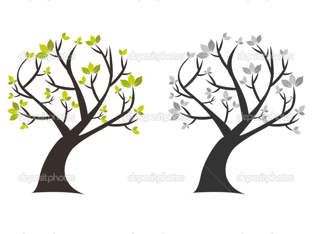 Hojas De árbol Con Verde Y En Blanco Y Negro